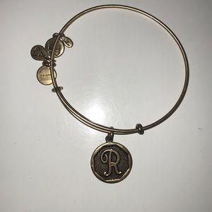 """Alex and Ani """"R"""" charm bracelet"""